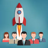 Group of business people with rocket behind them.
