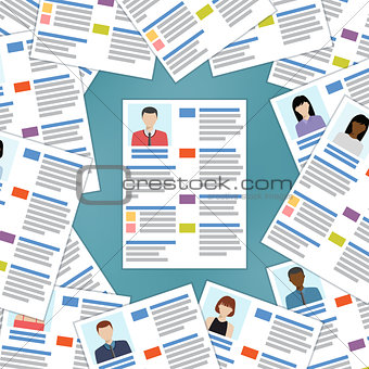 Group of resumes with one in the center.