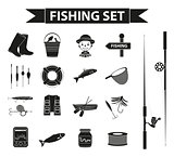 Fishing icon set, black silhouette, outline style. Fishery collection objects, design elements, isolated on white background. Vector illustration, clip-art.