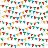 Kids, carnival seamless pattern with bunting, garlands. Bright festive background, texture with ribbons. Vector illustration.