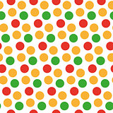 Kids seamless pattern with polka dots. Bright festive background, texture with circles. Vector illustration.