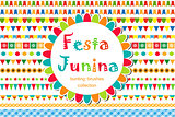Festa Junina patterned set of brushes, bunting, flags. Festive decorations, border isolated on white background. Vector illustration.