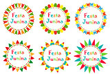 Festa Junina set frame with space for text. Brazilian Latin American festival blank template for your design, isolated on white background. Vector illustration.