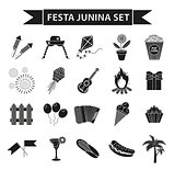 Festa Junina set icons, black silhouette style. Brazilian festival, celebration of traditional symbols. Collection of design elements, isolated on white background. Vector illustration, clip-art.