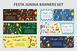 Festa Junina banner set with space for text. Brazilian Latin American festival template for your design with traditional symbols. Vector illustration.