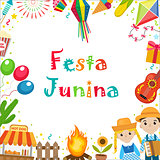 Festa Junina frame with space for text. Brazilian Latin American festival blank template for your design with traditional symbols. Vector illustration.