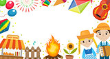 Festa Junina banner with space for text. Brazilian Latin American festival template for your design with traditional symbols. Vector illustration.