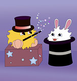A cartoon magician and a rabbit inside a magic hat