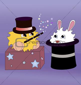 A cartoon magician and a rabbit inside a magic hat