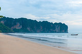 Beach krabi Thailand on a cloudy day and a view of the mountains