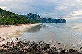 Top view of the ebb and flow of Krabi beach, Thailand
