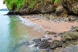 Rocky shore of scenic Thailand, marine beautiful scenery