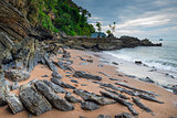 Cloudy weather, rocky coast and the sea. Landscape of Thailand,