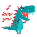 Vector brightly amorous dinosaur enamored