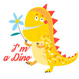 Vector of brightly amusing dinosaur