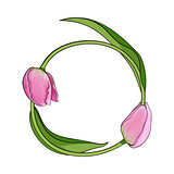 Round frame formed by two tulip flowers, place for text