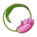 Round frame formed by pink tulip flower, place for text