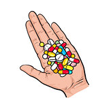 Hand holding pile of colorful pills, tablets in open palm