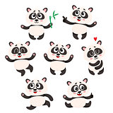 Set of cute smiling baby panda characters - smiling, dancing, jumping