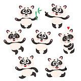 Set of cute smiling baby panda characters - smiling, dancing, jumping