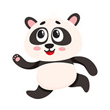 Cute and funny smiling baby panda character running, hurrying somewhere