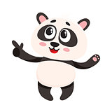 Funny smiling baby panda character pointing to something with finger