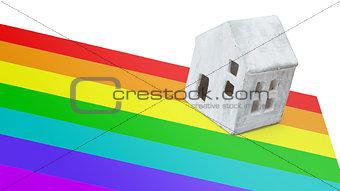 Small house on flag - Rainbow flag