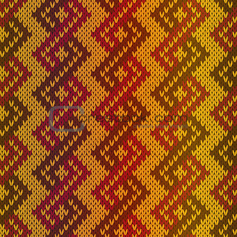 Knitting seamless pattern mainly in red and orange hues