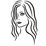 Abstract young women head outline