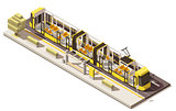 Vector isometric low poly low-floor tram