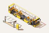 Vector isometric low poly bus cross-section