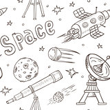 Seamless pattern with space ship