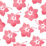 Pattern with tropical watercolor flowers