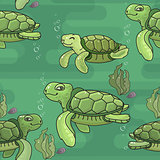 Vector seamless pattern. Cute cartoon green sea Turtle.