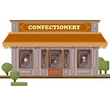 Confectionery shop facade. Stylish sweets boutique. Store design