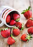 Fresh ripe strawberries in mug