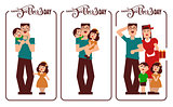 Happy Fathers Day. Dad, mom and kids happy family. Lettering text for template greeting card