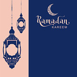Ramadan Kareem template greeting card. Lettering text and lamp
