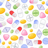 Vector heap of tablets and capsules. Seamless pattern tile