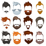 Set of men cartoon hairstyles with beards and mustache. Collection of fashionable stylish types. Vector illustration with isolated hipsters on a white background.