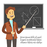 Teacher, professor standing in front of blank school blackboard vector illustration. School male teacher near blackboard