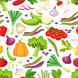 Raw vegetables with sliced pepper eggplant garlic mushroom courgette tomato onion cucumber vector illustration.Seamless pattern on a white background , vegetables illustrations