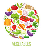 Banner round composition with colorful vegetables for farmers market menu design. Healthy food concept. Vector illustration.
