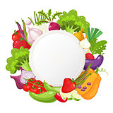 Healthy vegetables and vegetarian food round banner. Fresh organic food, healthy eating background with place for text. Natural farm product . Cartoon vector illustration