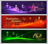 Banner template for Eid with message in Arabic Urdu meanig Ramadan Mubarak