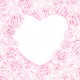 Peony flower heart. Greeting card background