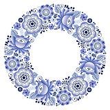Russian ceramics Gzhel round folk art pattern - floral plate design