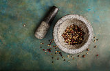 Pepper spice mix in a mortar