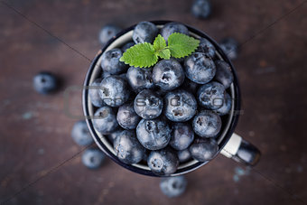 Fresh blueberries in a cup