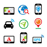 GPS, car navigation, travel vector icons set